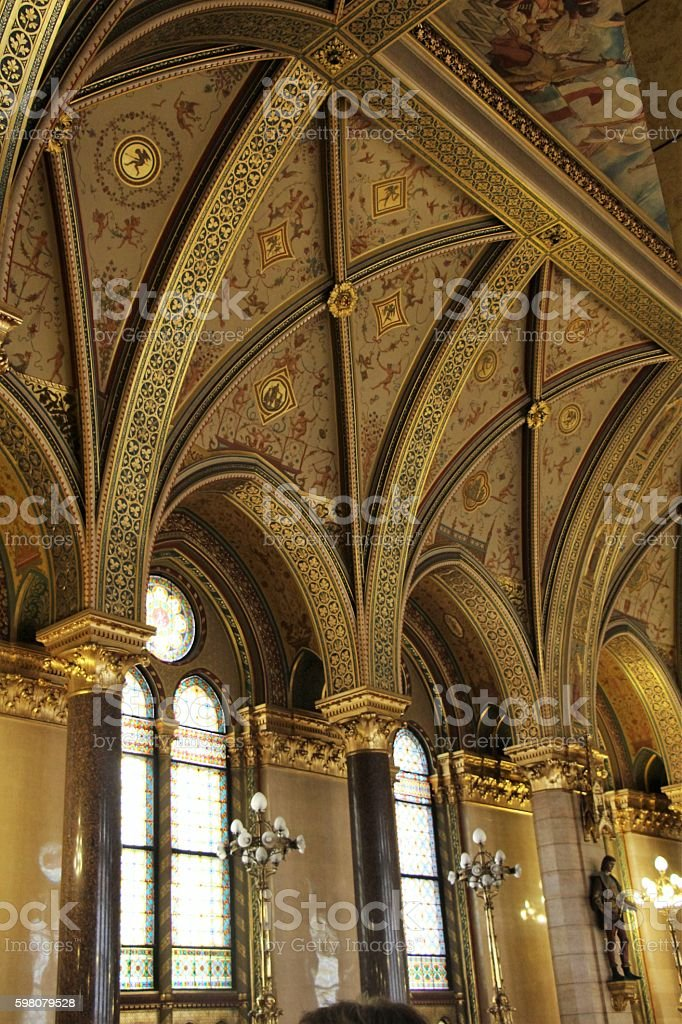 budapest - parliament inside stock photo