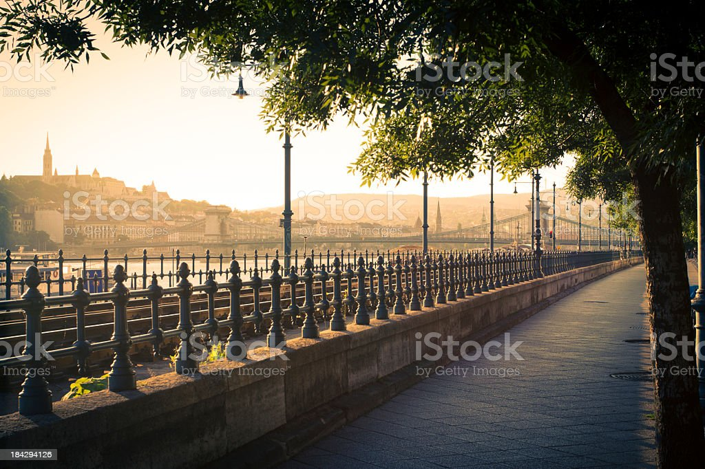 Budapest riverbank royalty-free stock photo
