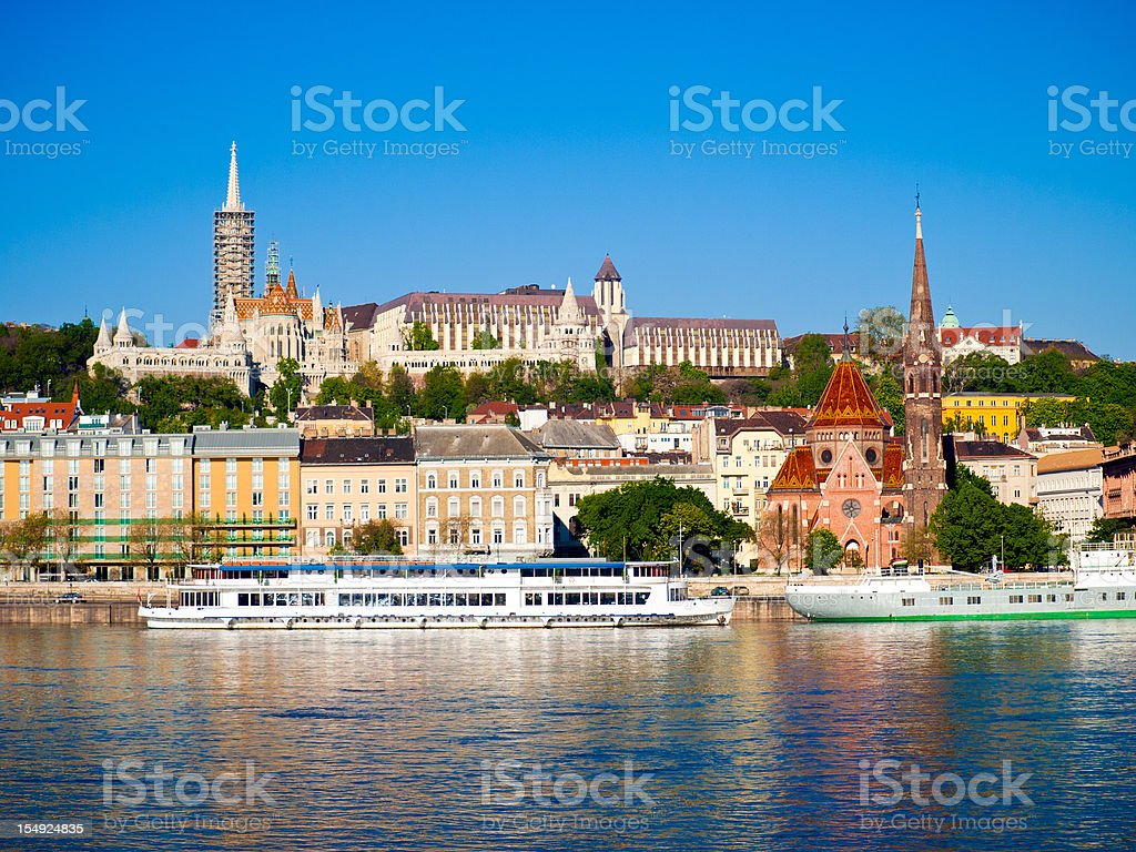 Budapest riverfront daytime stock photo
