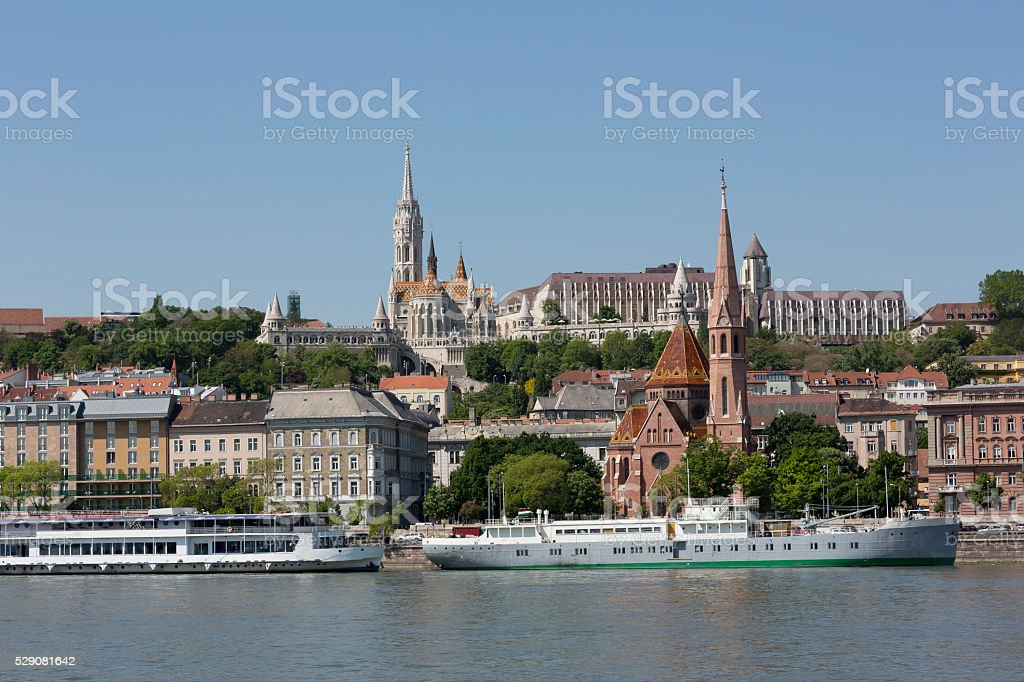 Budapest riverside view with Matthias Church and Fisherman's Bastion stock photo