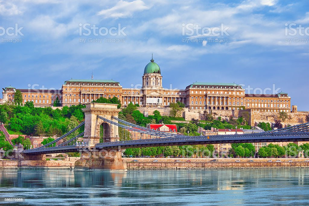 Budapest Royal Castle and Szechenyi Chain Bridge at day time. stock photo