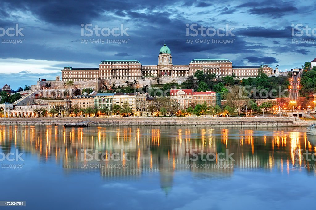 Budapest Royal palace with reflection, Hungary stock photo
