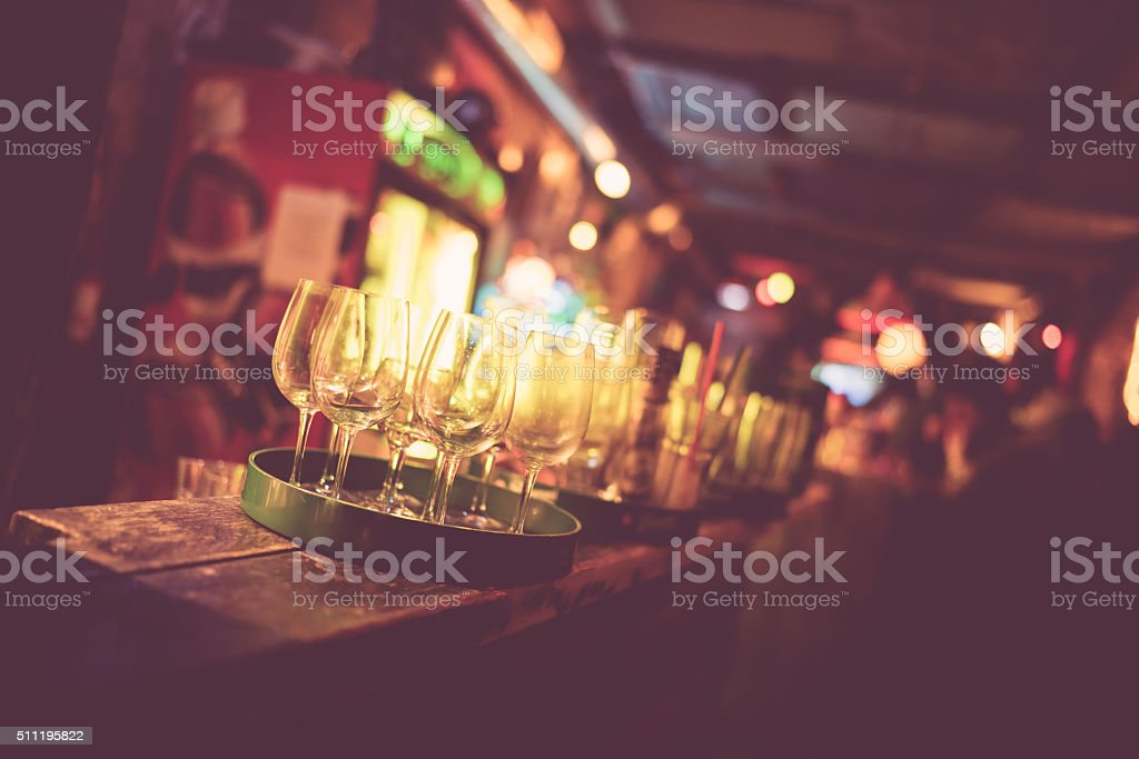 Budapest ruin bar faded stock photo
