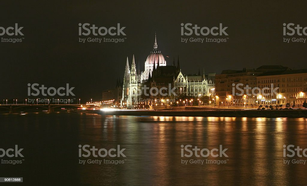 Budapest, side view of parliament royalty-free stock photo