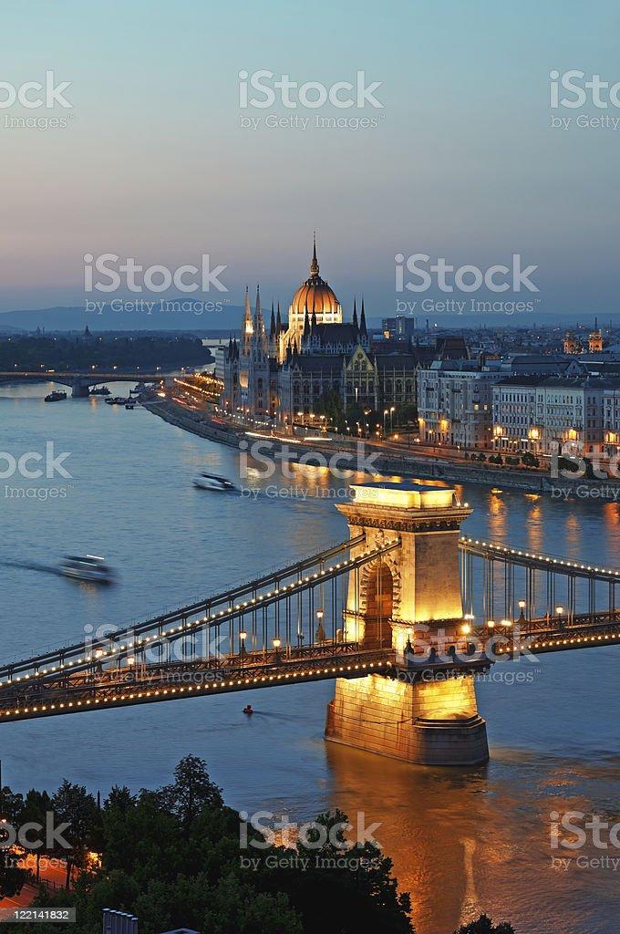 Budapest skyline at dusk stock photo