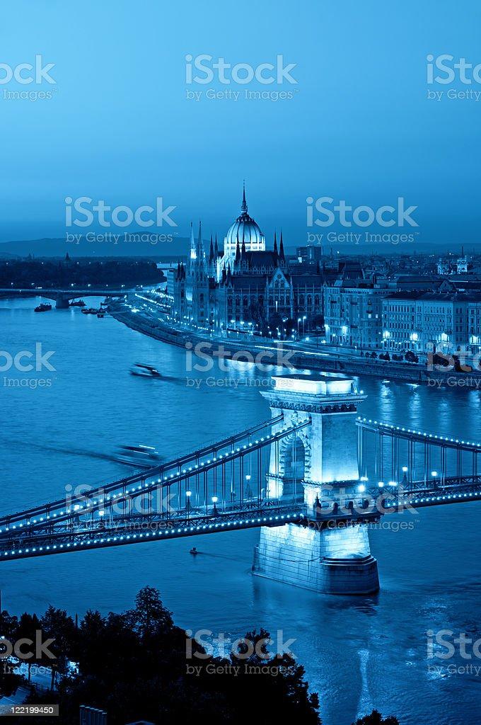 Budapest skyline at night royalty-free stock photo