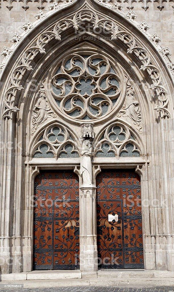 Budapest - South portal on Saint Matthew church royalty-free stock photo