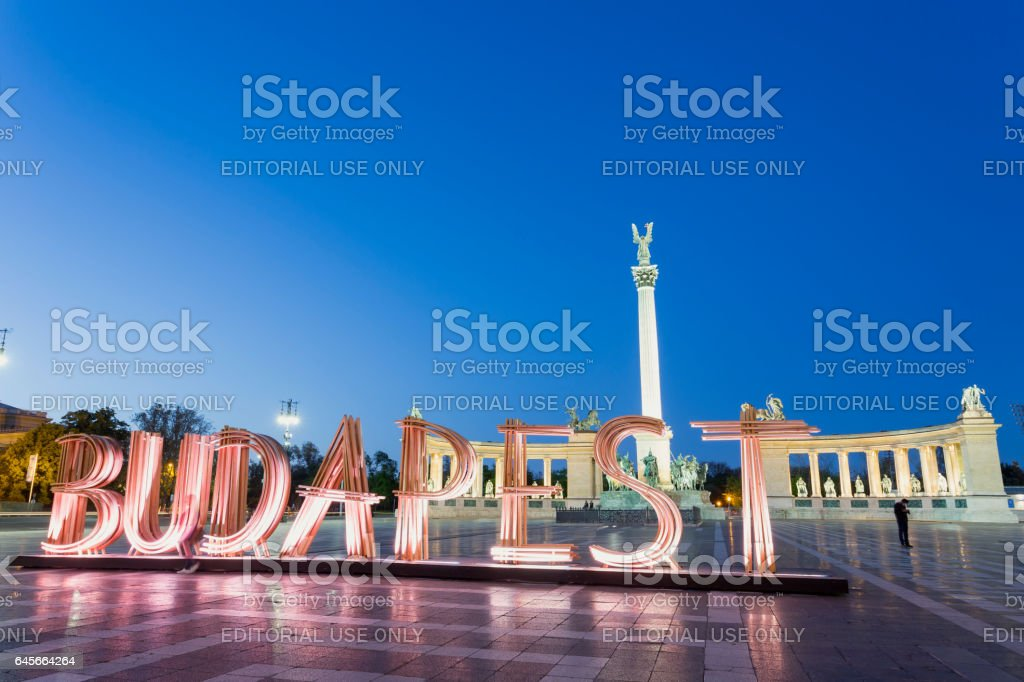 Budapest Spring Festival sign at Hero's Square in Budapest stock photo