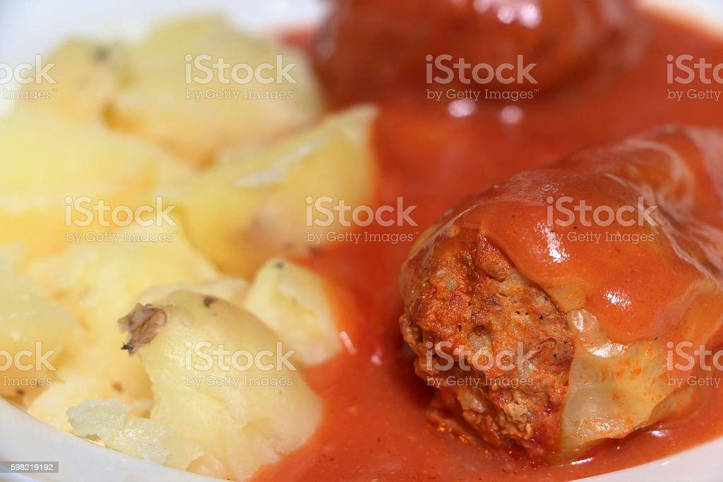 budapest - stuffed pepper and potatoes stock photo