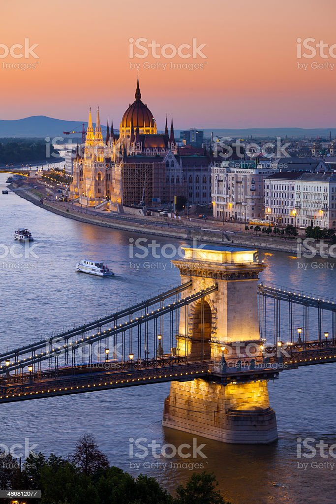 Budapest sunset cityscape with Chain Bridge stock photo