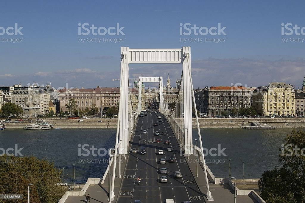 Budapest - The Ersabet Bridge stock photo