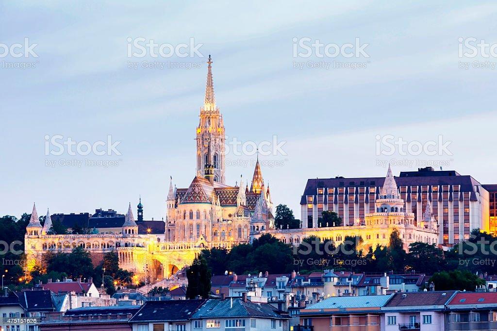 Budapest view of Matthias Church and Fisherman's Bastion at night stock photo