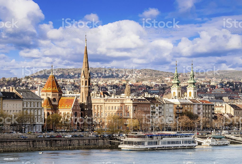Budapest, view on Danube, Buda and hills stock photo