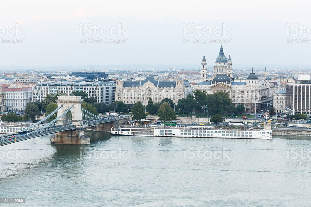 Budapest. View over the Danube and the Chain Bridge stock photo
