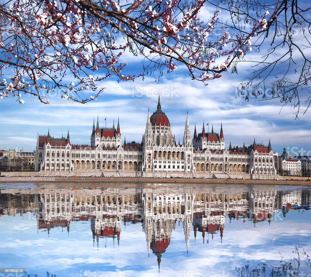 Budapest with parliament against Danube river in Hungary stock photo