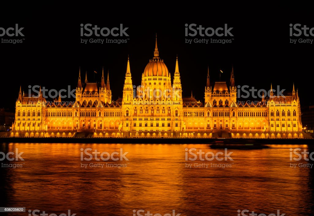 Budapest,Hungary-April 7 2016 : hungarian parliament, night scen stock photo