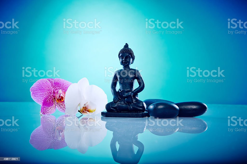 Budda, orchis and hot stones stock photo
