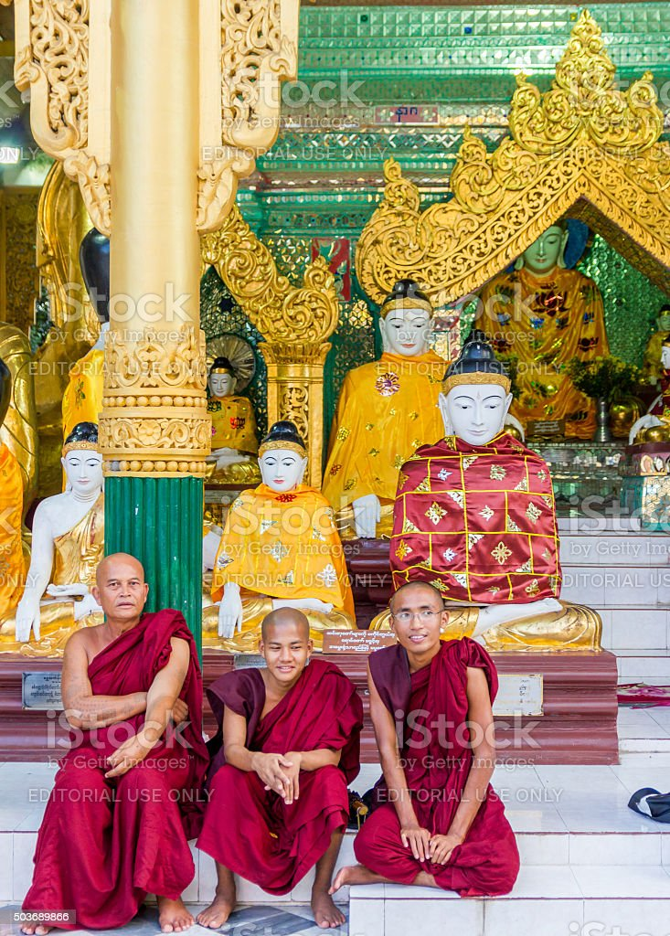 Buddha and his Monks stock photo