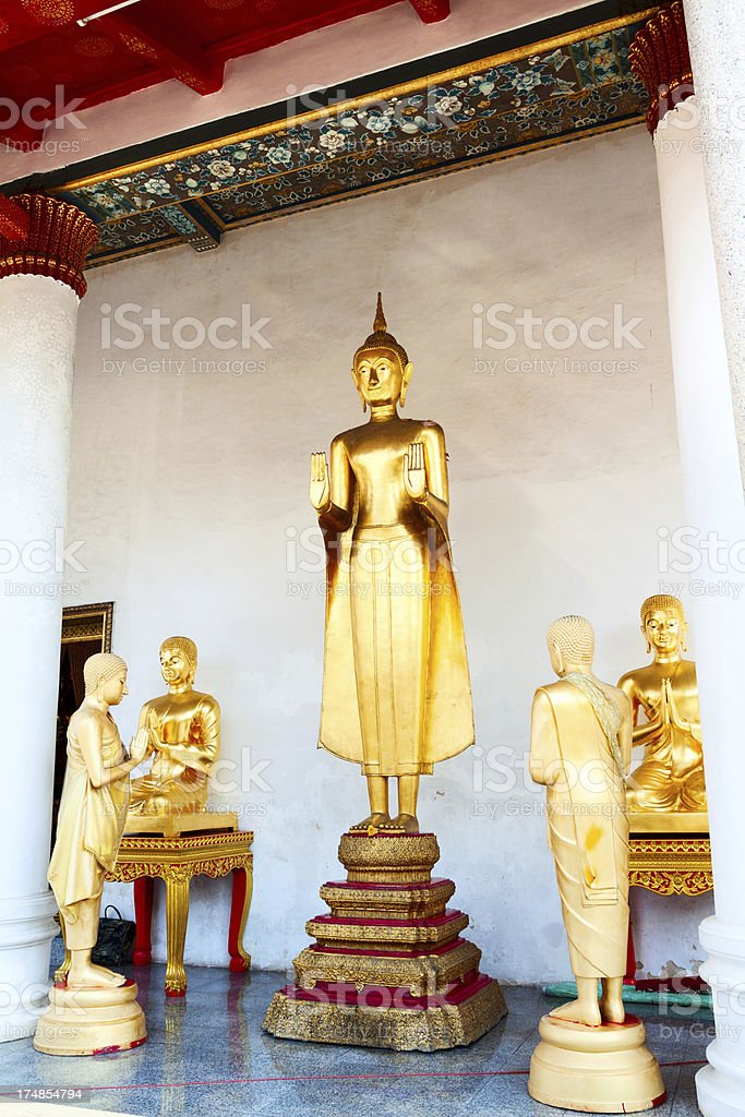 Buddha and monks royalty-free stock photo