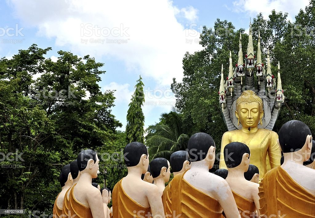 Buddha and monks statue royalty-free stock photo