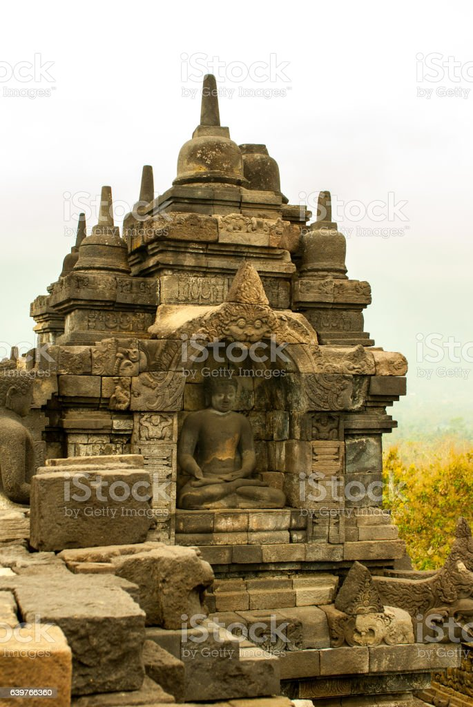 Buddha and small Stupas of Borobudur Java island, Indonesia stock photo