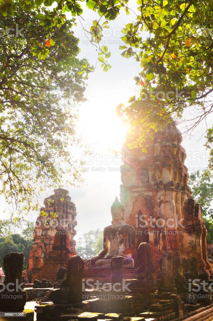 Buddha and Stupa of Ayutthaya stock photo