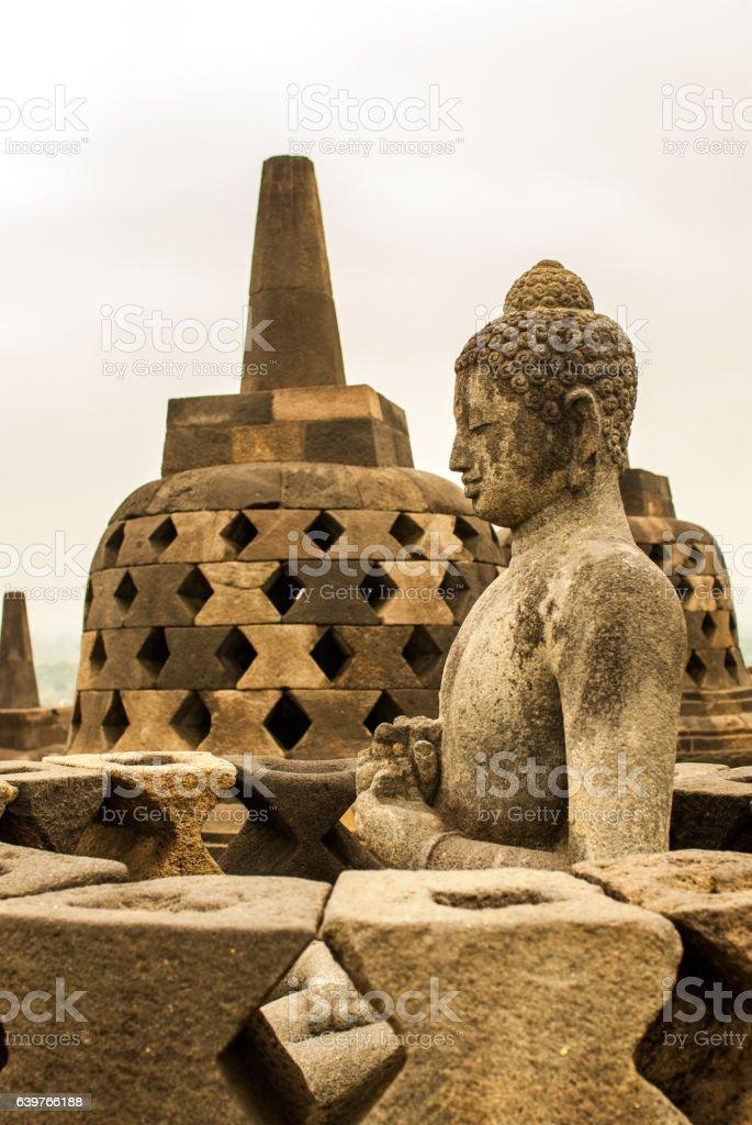 Buddha and Stupa of Borobudur Java island, Indonesia stock photo
