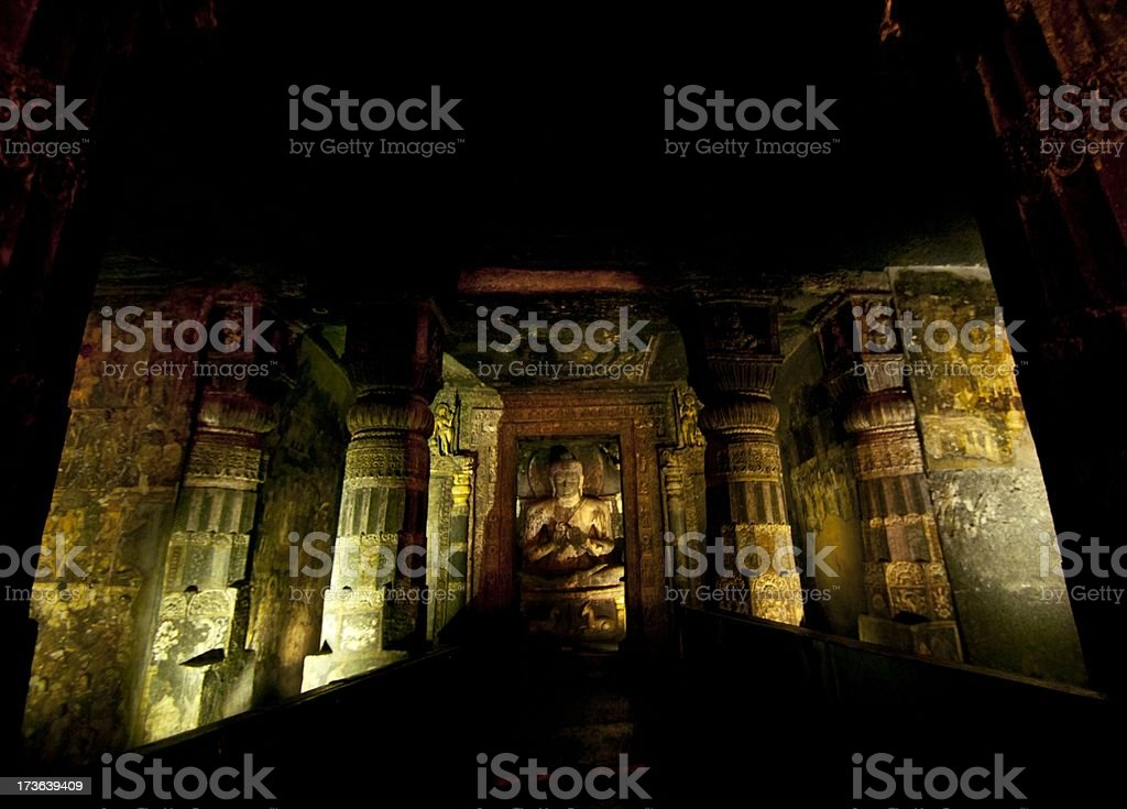 Buddha at Ajanta caves stock photo