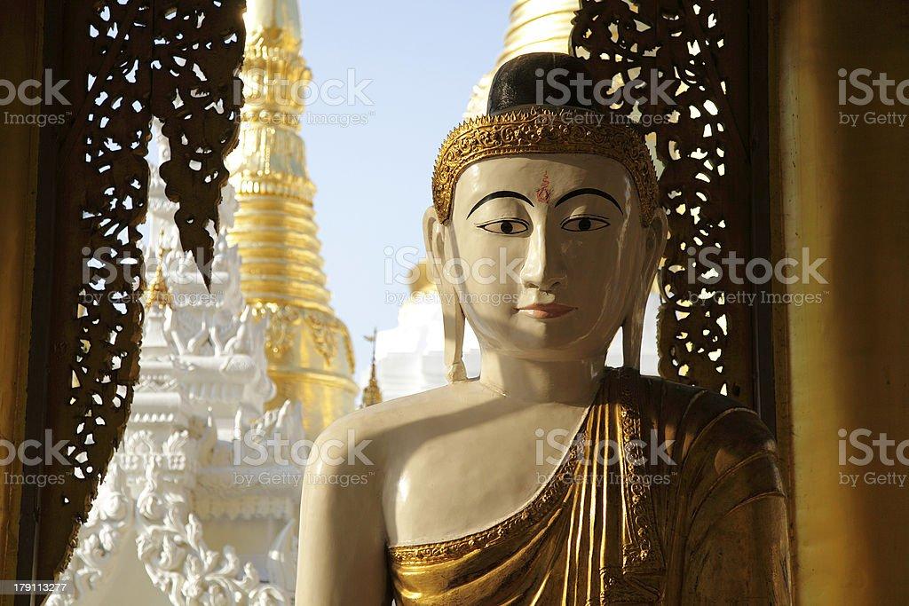 Buddha at Shwedagon Paya in Yangon, Myanmar royalty-free stock photo