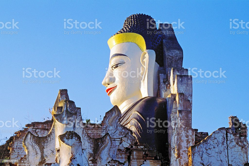 Buddha at the Ruins of Kyaukhpyugyi Paya, Nyaung Shwe, Myanmar stock photo