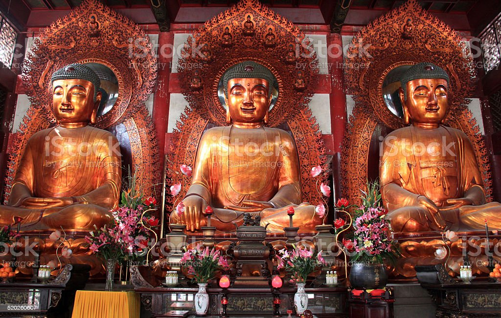 Buddha at the Temple of the Six Banyan Trees, China stock photo