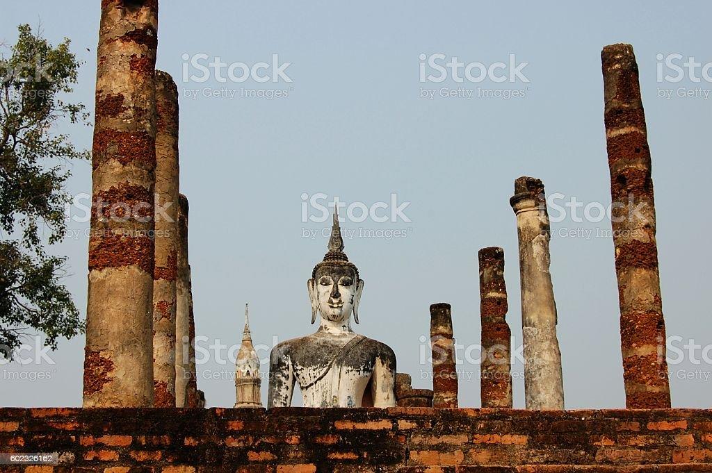 Buddha at Wat Mahathat, Sukhothai, Thailand stock photo