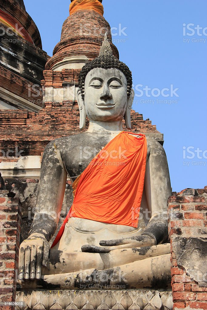 Buddha at Watyaichaimongkol Temple in Ayutthaya, Thailand stock photo