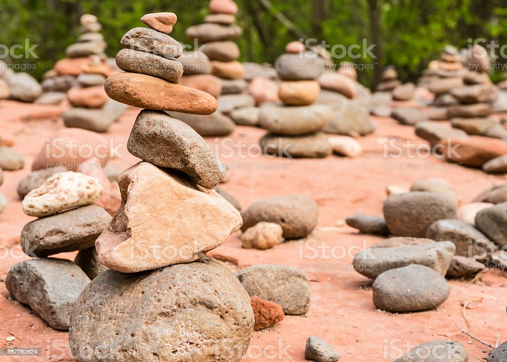 Buddha Beach Rock Cairns stock photo