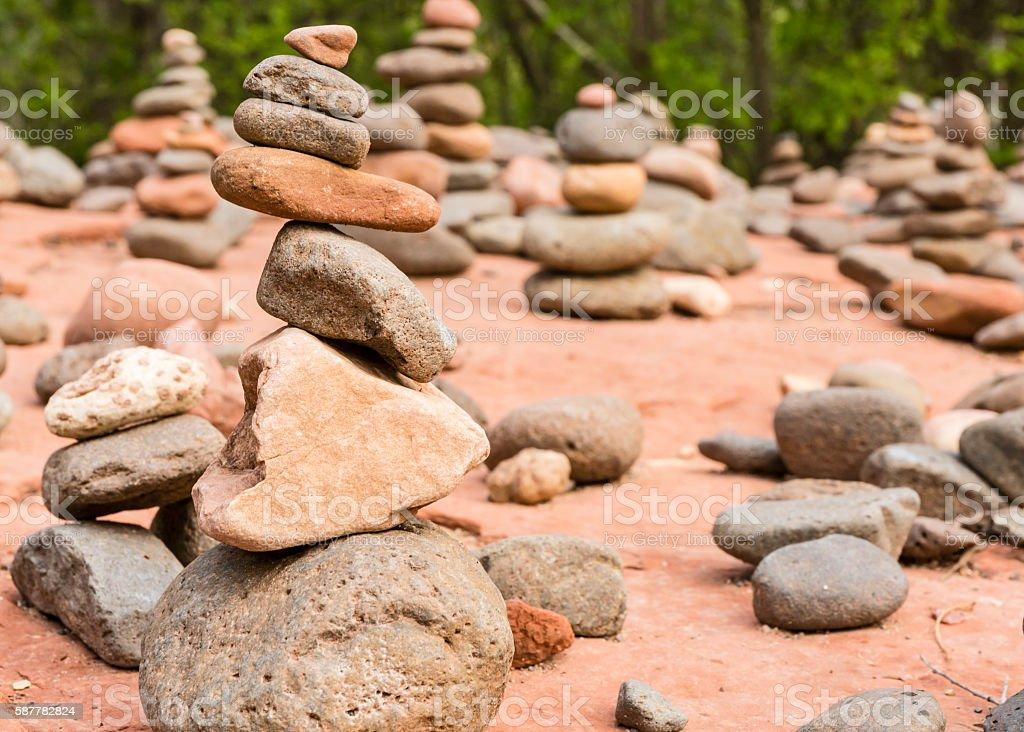 Buddha Beach Rock Cairns stock photo