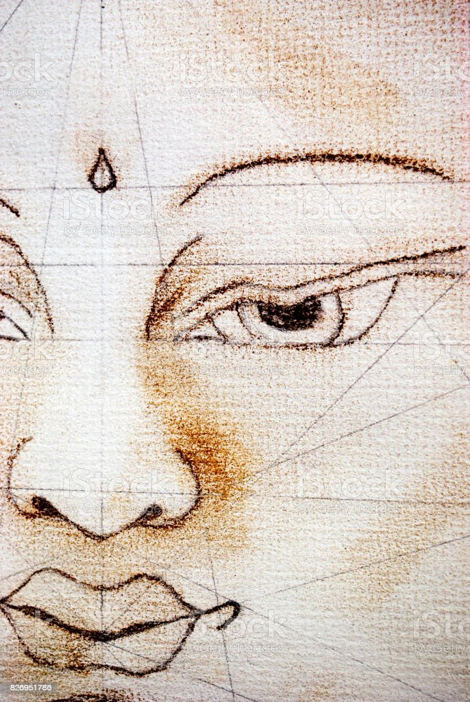 Buddha being drawn in Thangka Style with Symmetry Lines stock photo