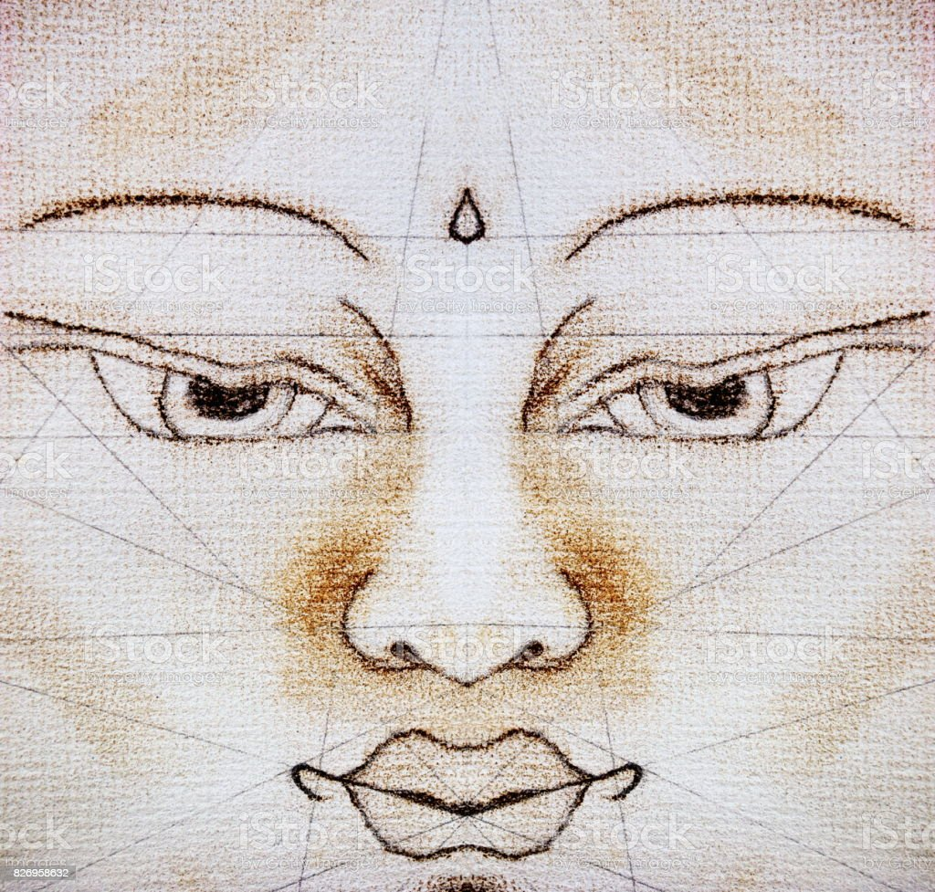 Buddha drawn in Thangka Style with Symmetry Lines stock photo