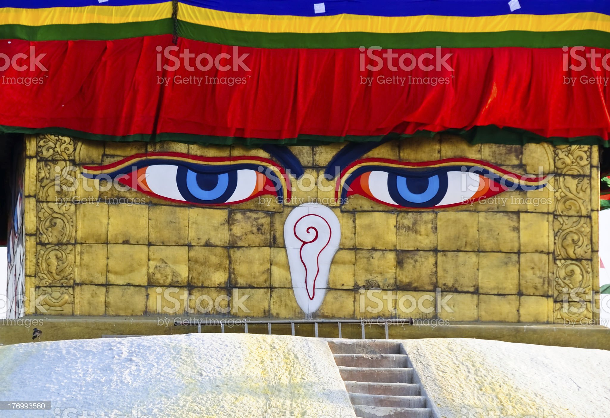 Buddha eyes on a Boudha Nath (Bodhnath) stupa,Nepal royalty-free stock photo