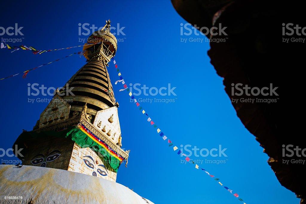 Buddha eyes stupa stock photo