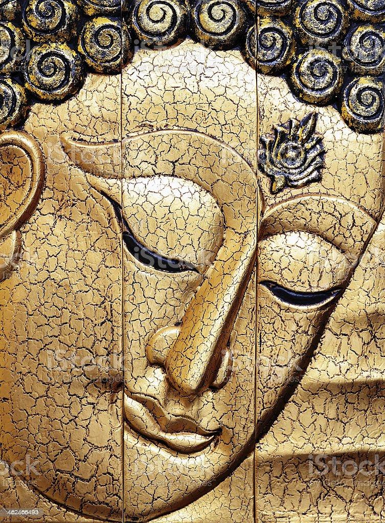 buddha face wood carving royalty-free stock photo