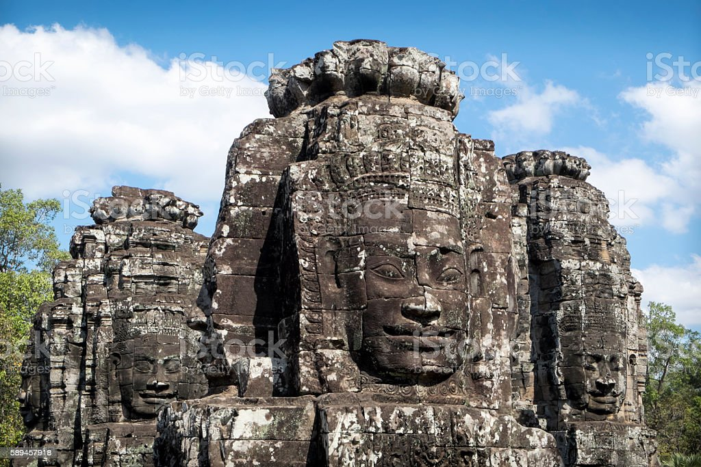 Buddha faces at Bayon Temple, Cambodia stock photo