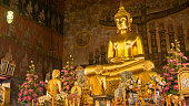 Buddha gold statue and thai art architecture in Wat Rakhang