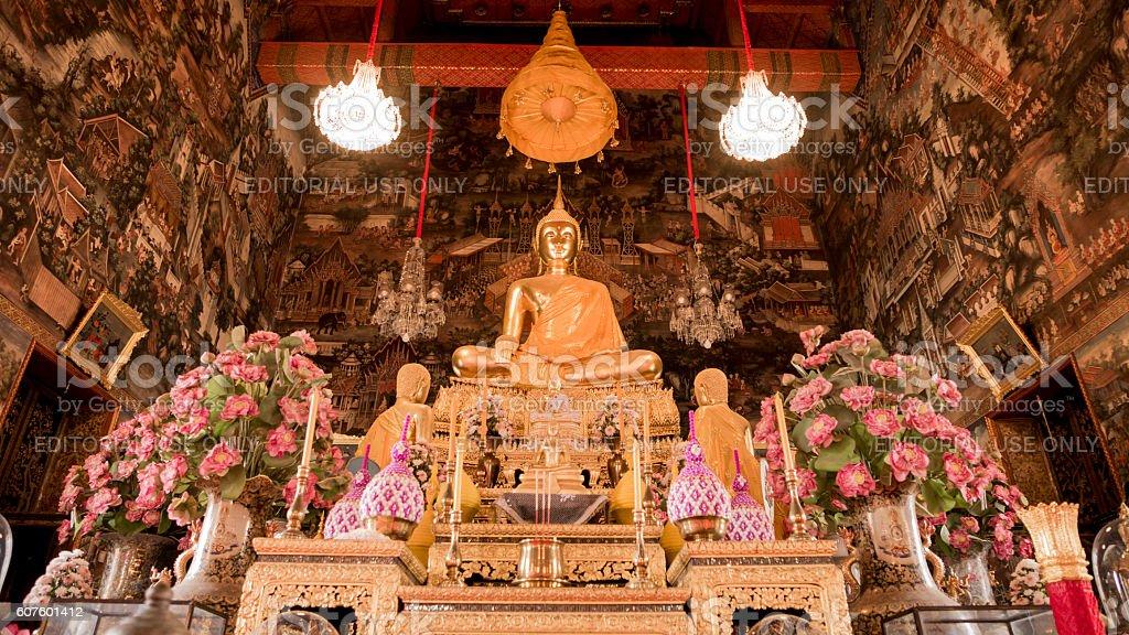 Buddha gold statue and thai art architecture. stock photo