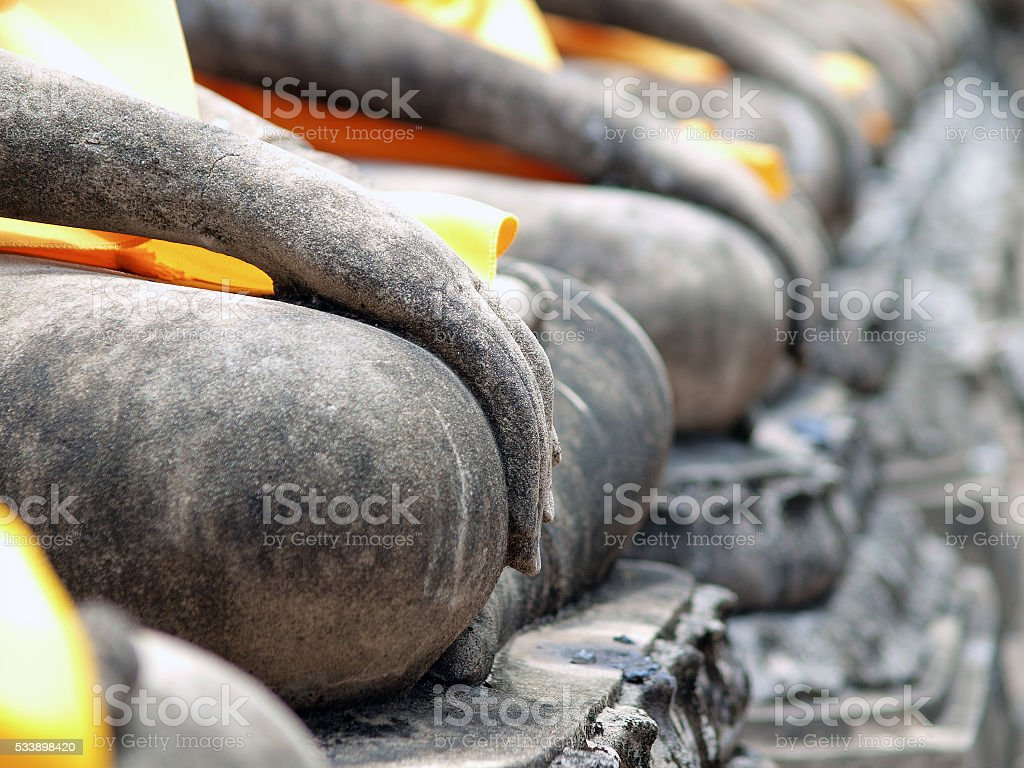 Buddha hand in Wat Yai Chai Mongkol- Ayuttaya of Thailand stock photo