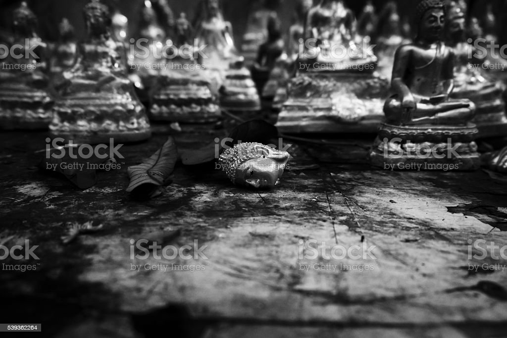 buddha head at thailand stock photo