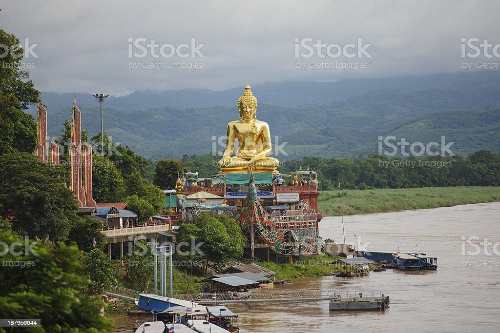 Buddha image at Golden Triangle. stock photo