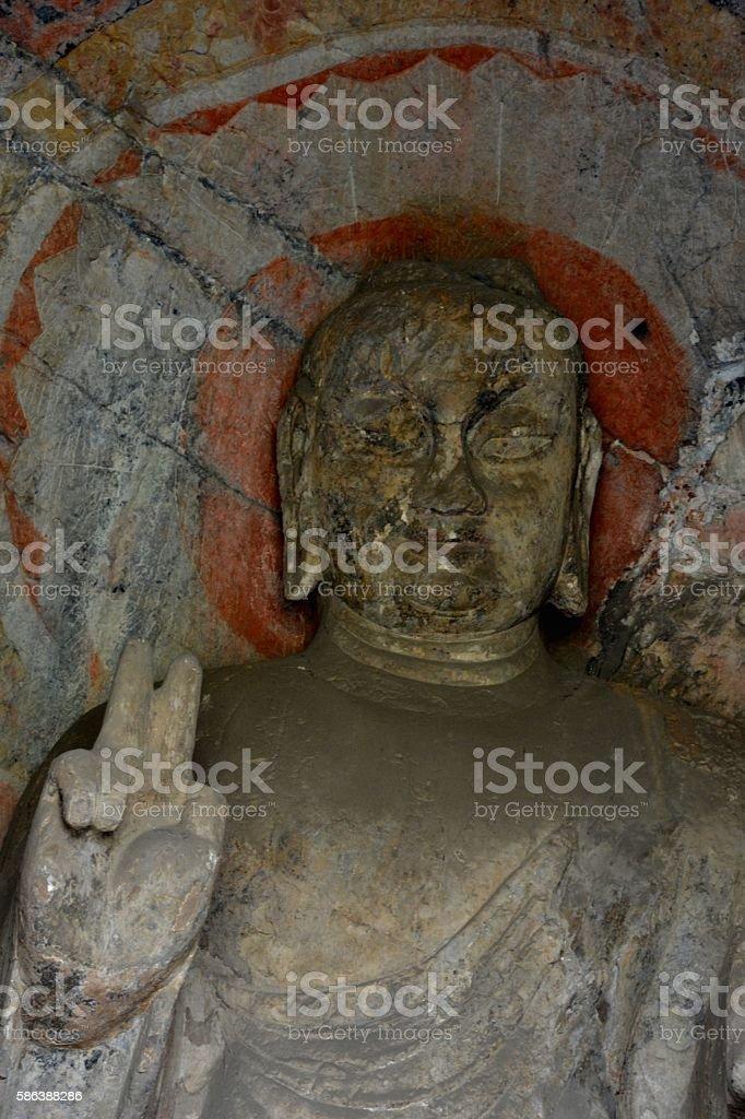 Buddha image at Longmen Grottoes, Luoyang, Henan stock photo