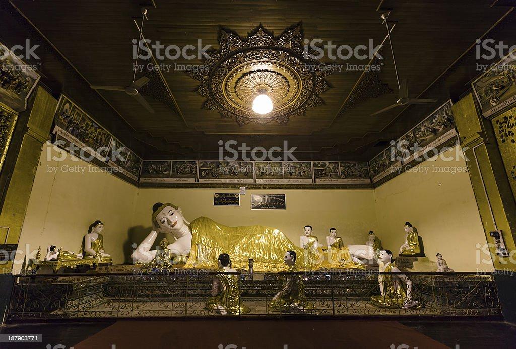 Buddha image at Shwedagon Pagoda stock photo