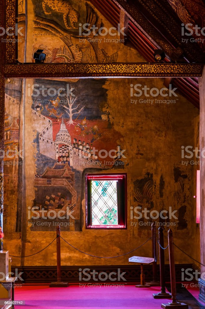 Buddha image in church of Wat Phumin, Nan, Thailand stock photo