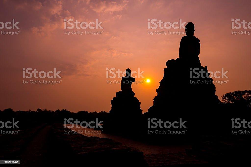 Buddha Bild in der Dämmerung Lizenzfreies stock-foto